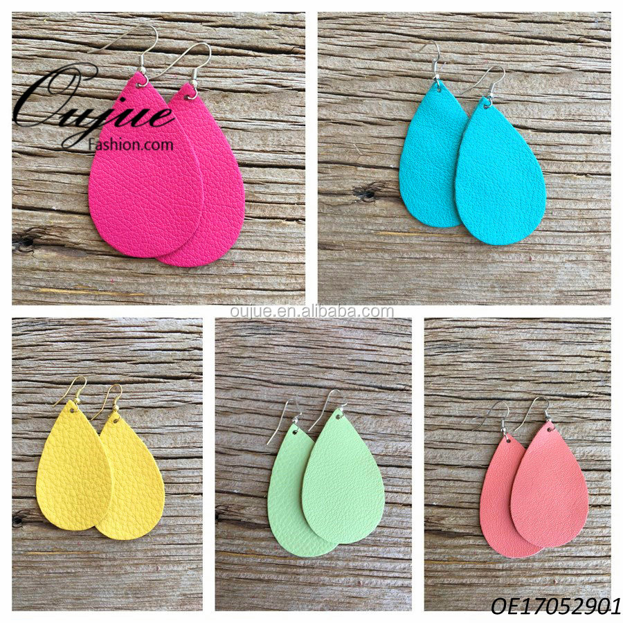 2017 Fashion Lightweight Teardrop Faux Leather Earrings 5 Colors