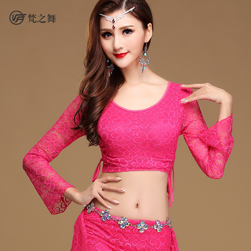 S-3102 Long sleeve lace arab bellydance costume top for ladies
