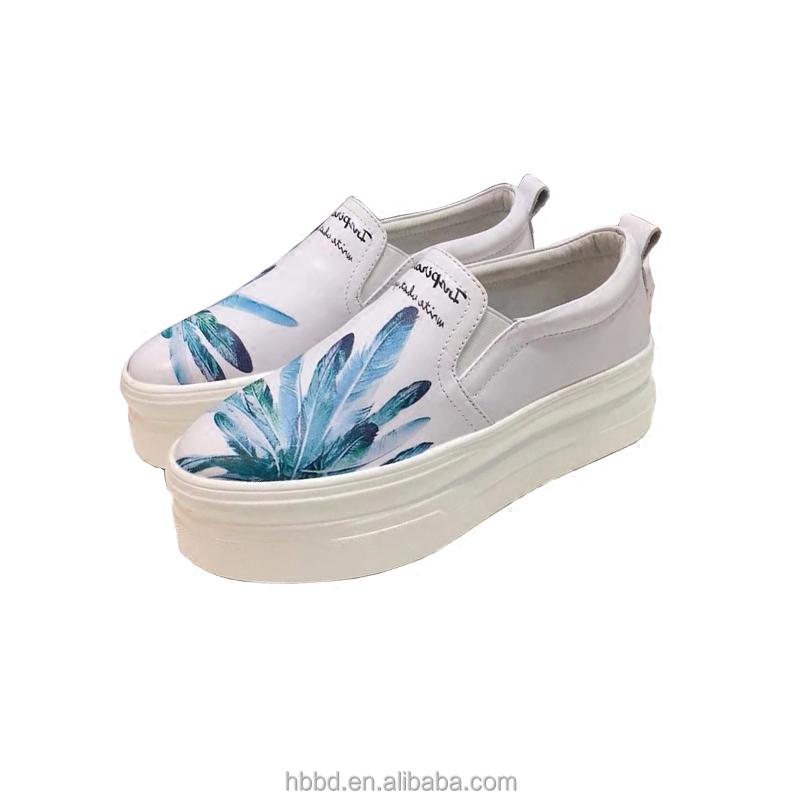 mesh shoe ladies platform loafers waterproof feather genuine leather casual printing wholesale qOSvEx