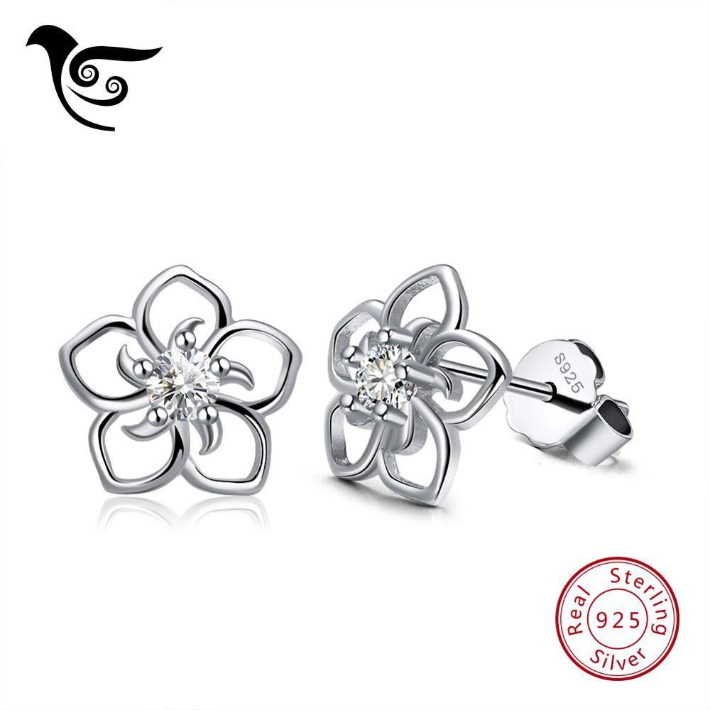 SSDE71 925 Sterling Silver Flower Stud Earrings with Zirconia Customized Stud Earrings Jewelry