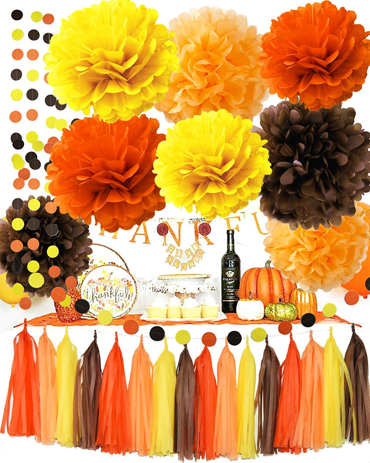 Fall Party Supplies/Thanksgiving Party Decorations Yellow Orange Brown Pumpkin Color Tissue Pom Pom Tassel Garland Circle Garland for Autumn Party Decortions/Autumn Wedding, Fall Themed Decor