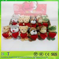 wholesale 8cm mini plush Valentines animal toys in gift boxes