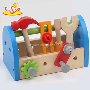 2018 hot sale diy kids repair tool wooden toy toolbox W03D063