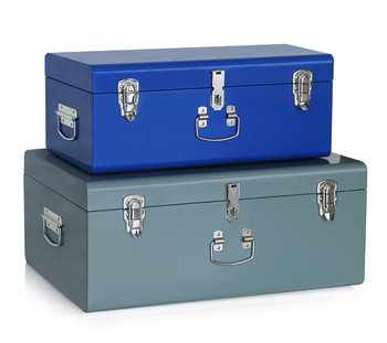 Delicieux Set 2 Beautiful Vintage Large Metal Storage Trunk Chest Locked Trunk Boxes