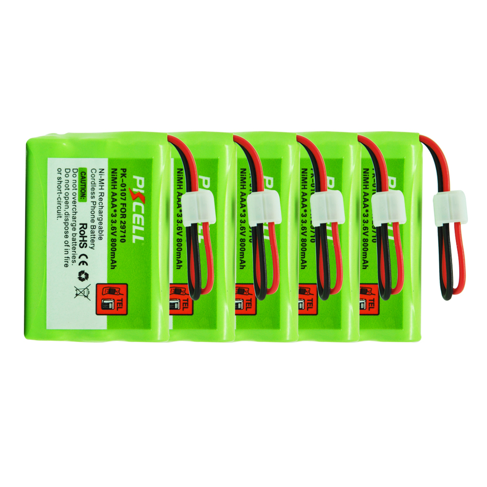5Packs 29710 AAA 800mAh 3.6V PK-0107   Rechargeable NI-MH Cordless Phone Battery with connector  JST-HER-2P