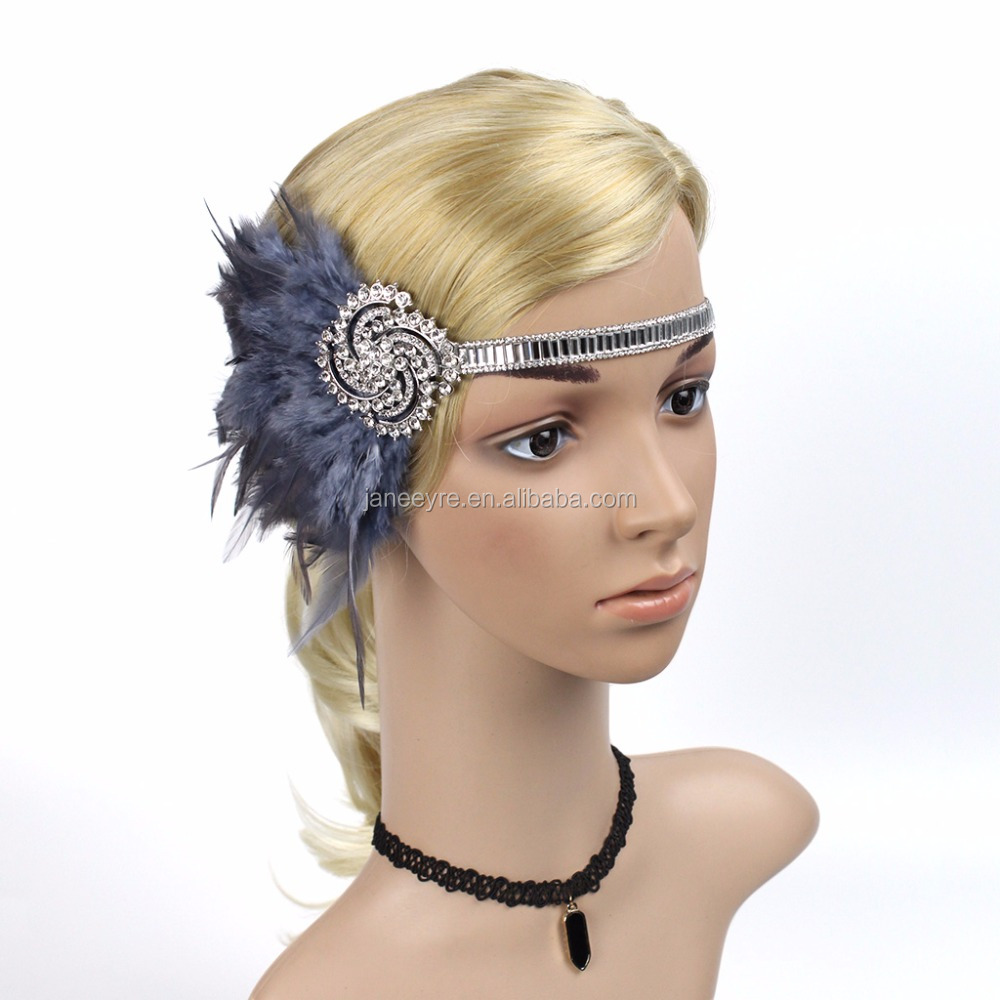 vintage Dark Grey Silver Feather Headpiece 1920s vintage Great Gatsby Flapper <strong>Headband</strong>