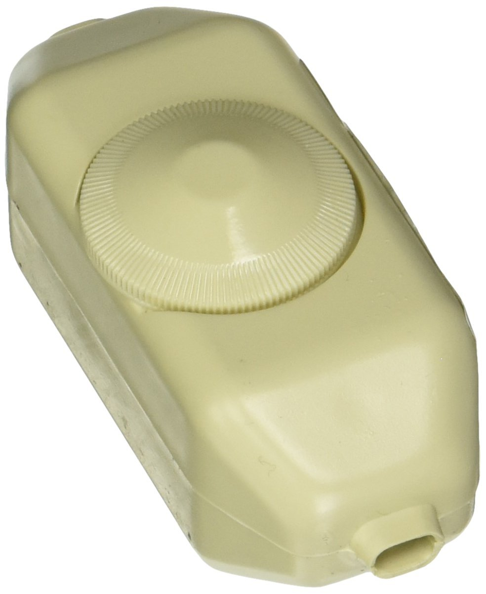 Leviton 6250-3I 200W Incandescent Feed-Through Full Range Lamp Cord Dimmer, Single-Pole, Ivory