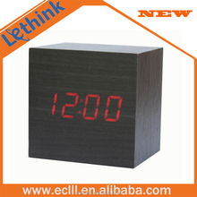 Competitive digital wood table clock square wooden LED alarm clock