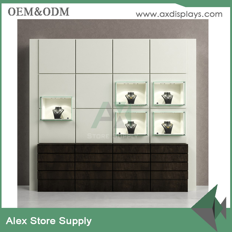 Customized jewelry modern wood wall showcase for jewellery showcase designs