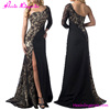 Elegant Black One Long Sleeve Split Maxi Mature Sex Lace Evening Dress Women
