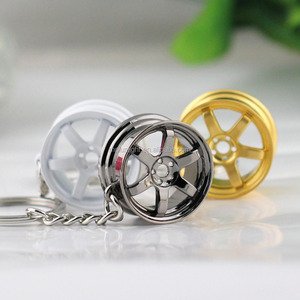 custom logo Car Auto Tuning Parts Key Chain Gold-Color BBS Wheel Rime Keychain Keyring