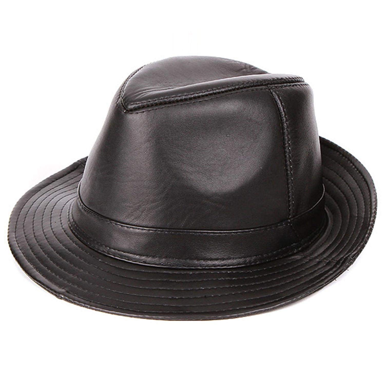 335bb607083d9 Get Quotations · Mens Genuine Leather jazz hat Leather Panama Hat Sheepskin Fedora  Hat Fedoras