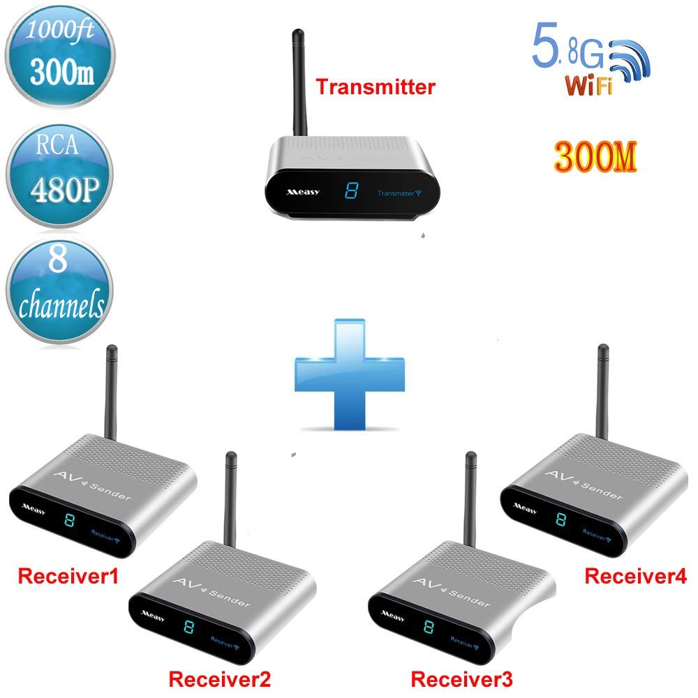 MEASY AV530-4(1X4) 5.8GHz 8 Channels Wireless Video & Audio Sender Receiver Streaming Cable, Satellite, DVD to TV Wirelessly up to 300m/1000 Feet IR Signal Return Back
