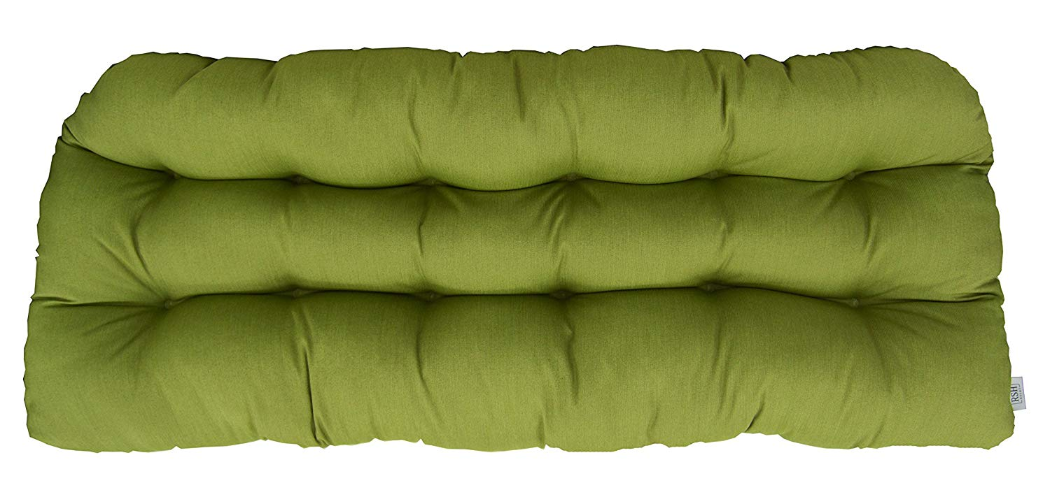RSH Décor Sunbrella Spectrum Cilantro Love Seat Cushion - Indoor/Outdoor 1 Tufted Wicker Loveseat Settee Cushion - Lime/Olive/Sage Green