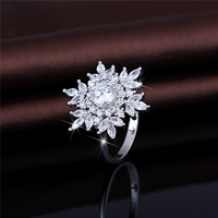 Fashion Cubic Zirconia Fine Jewelry 925 Sterling Silver Snowflake Ring For Christmas