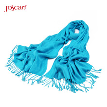 tassel thick teal travel warm scarf