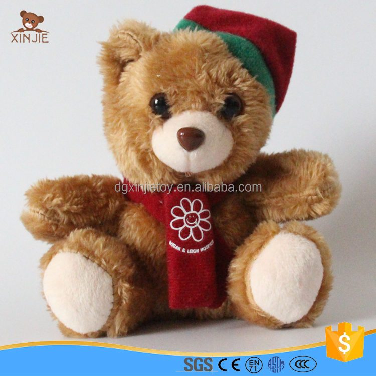 cheap plush christmas teddy bear toy with hat and scarf