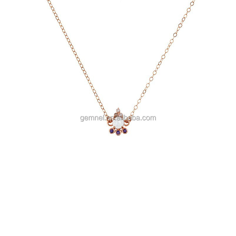 2017 trend 14ct gold cz diamond handmade necklace sterling jewelry