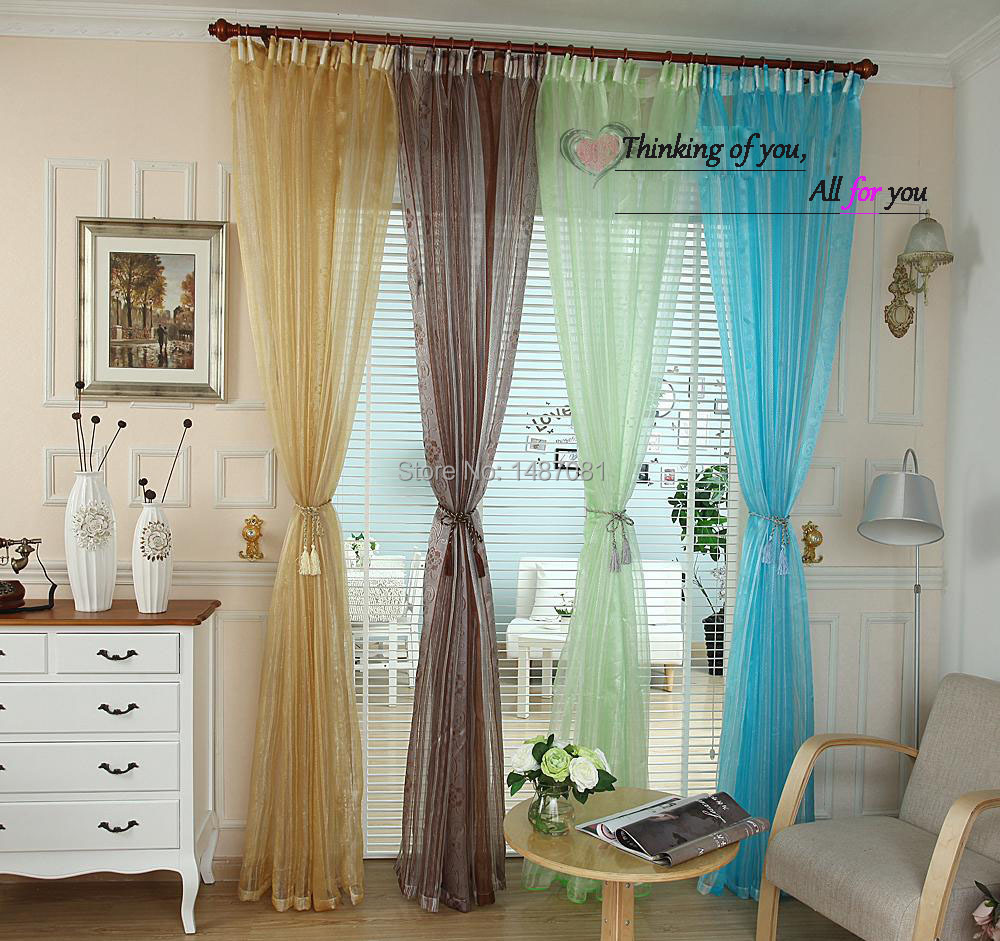 Sale Colorful Floral Tulle Window Curtain Sheer Curtains