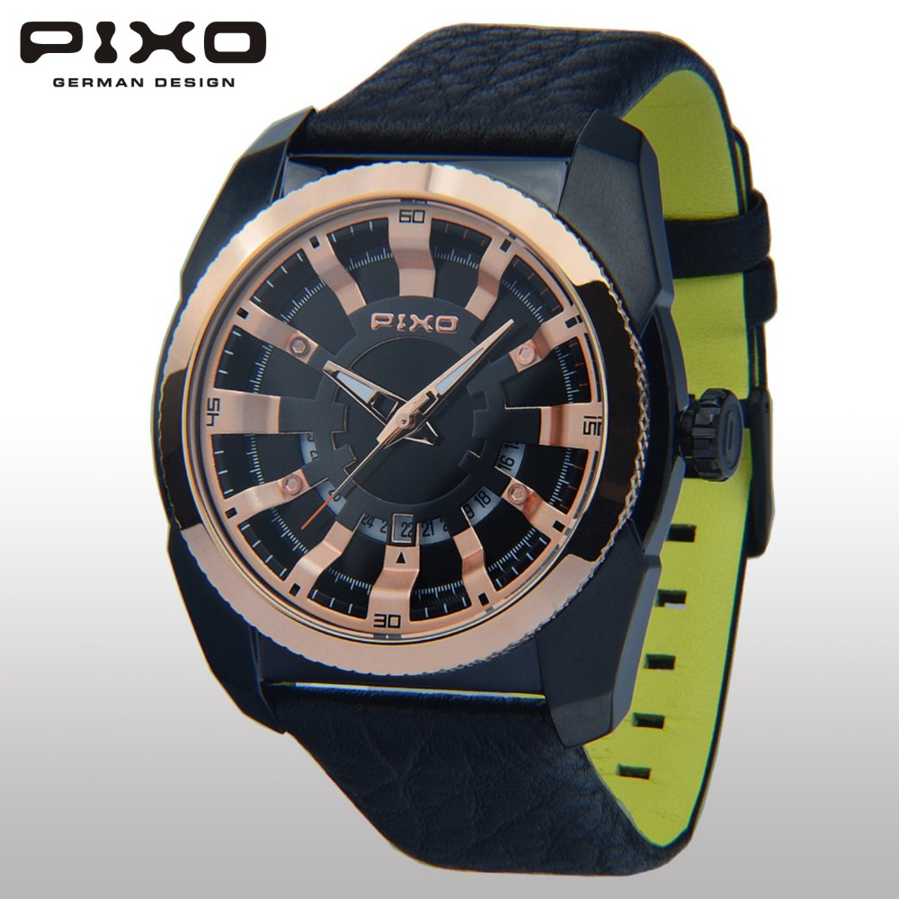 PIXO PX15 TURBINE ROSEGOLD BLACK GERMAN DESIGN JAPAN QUARTZ 3 HANDS SPORTY 3D DIAL LEATHER STRAP DESIGNER WATCH