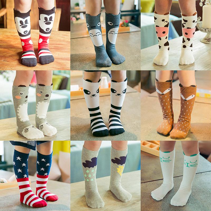 Pack 5 Sweet Cute Baby Toddler Girls Boys Cotton Knee Length Cartoon Long Socks