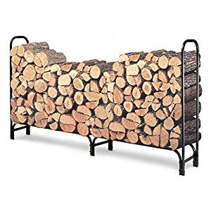 Outdoor 8ft Firewood Rack Wood Log Storage Sturdy Tubular Steel