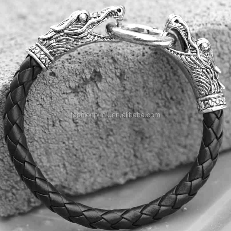 Leather Cool Mens Bangle with Locking Metal Dragon Head Clasp Bracelet