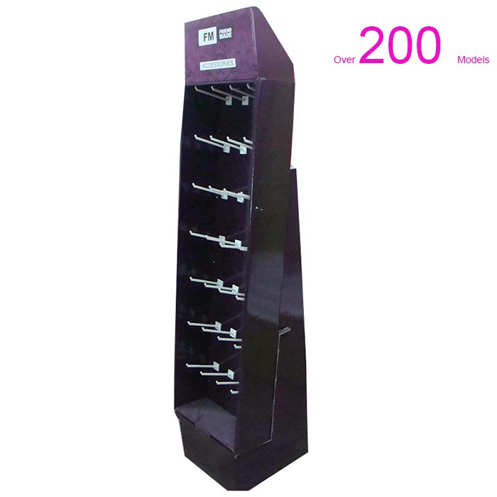 Multifunctional Customized CCNB Cardboard Floor Display Stands with J-peg Hooks For Supermarket <strong>retail</strong> Businessfor
