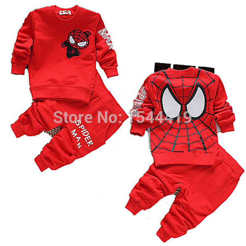 2016 Baby Boys Spring Autumn Spiderman Sports Suit 2 Pieces Set Tracksuits Baby Clothing Sets Casual