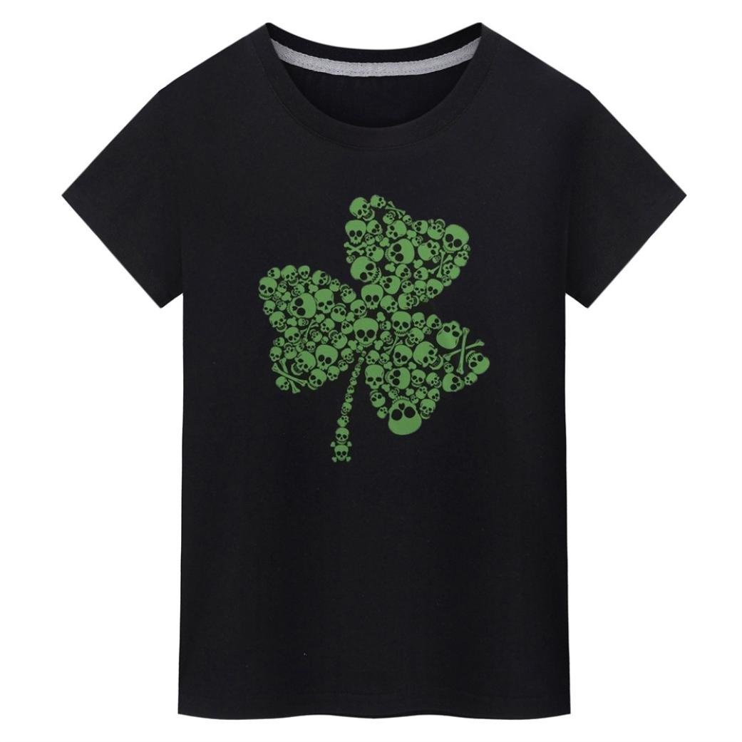 Clearance ! Women Blouse, ღ Ninasill ღ Fashion Shamrock Printed Short Sleeves Tee Tops T Shirt Tank (XXL, Black)