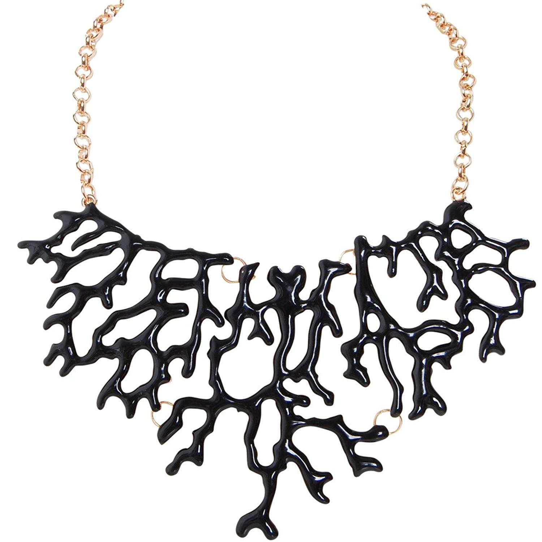 Humble Chic Mermaid Necklace - Coral-Shape Branch Chain Statement Choker Collar Bib