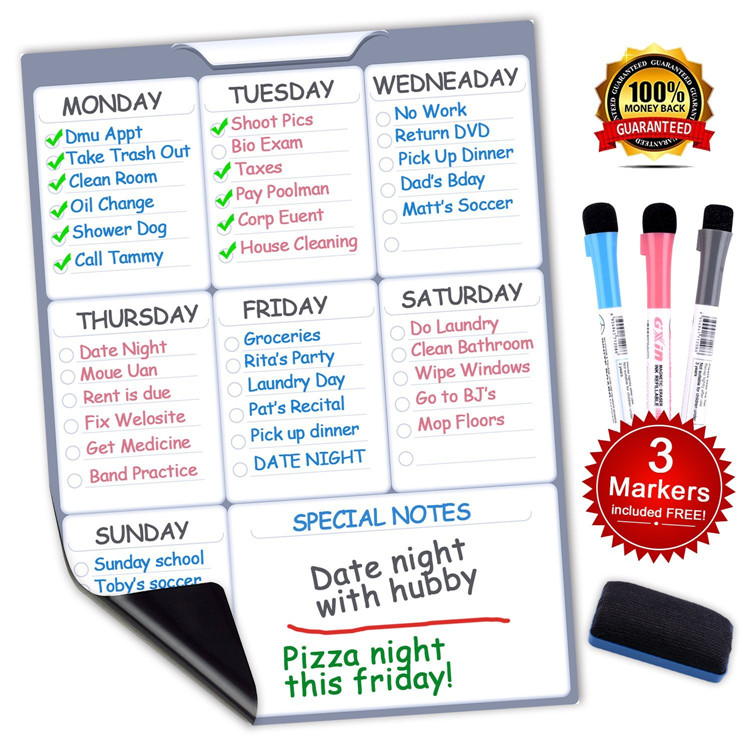 "12"" X 16"" Weekly Planner Calendar with Markers and Eraser Magnetic Dry Erase drawing Board, Refrigerator Whiteboard"