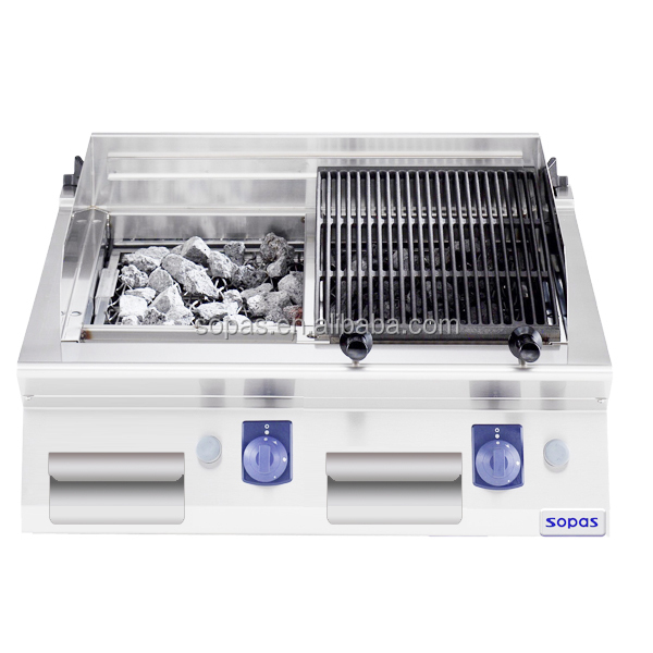 Sopas New Commercial Kitchen Equipment. 700 Series Counter. Top Rock Gas Grill for Restaurant
