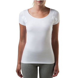 Custom Womens Sweat Proof Undershirts With Underarm Sweat Pads Modal Spandex Tshirt
