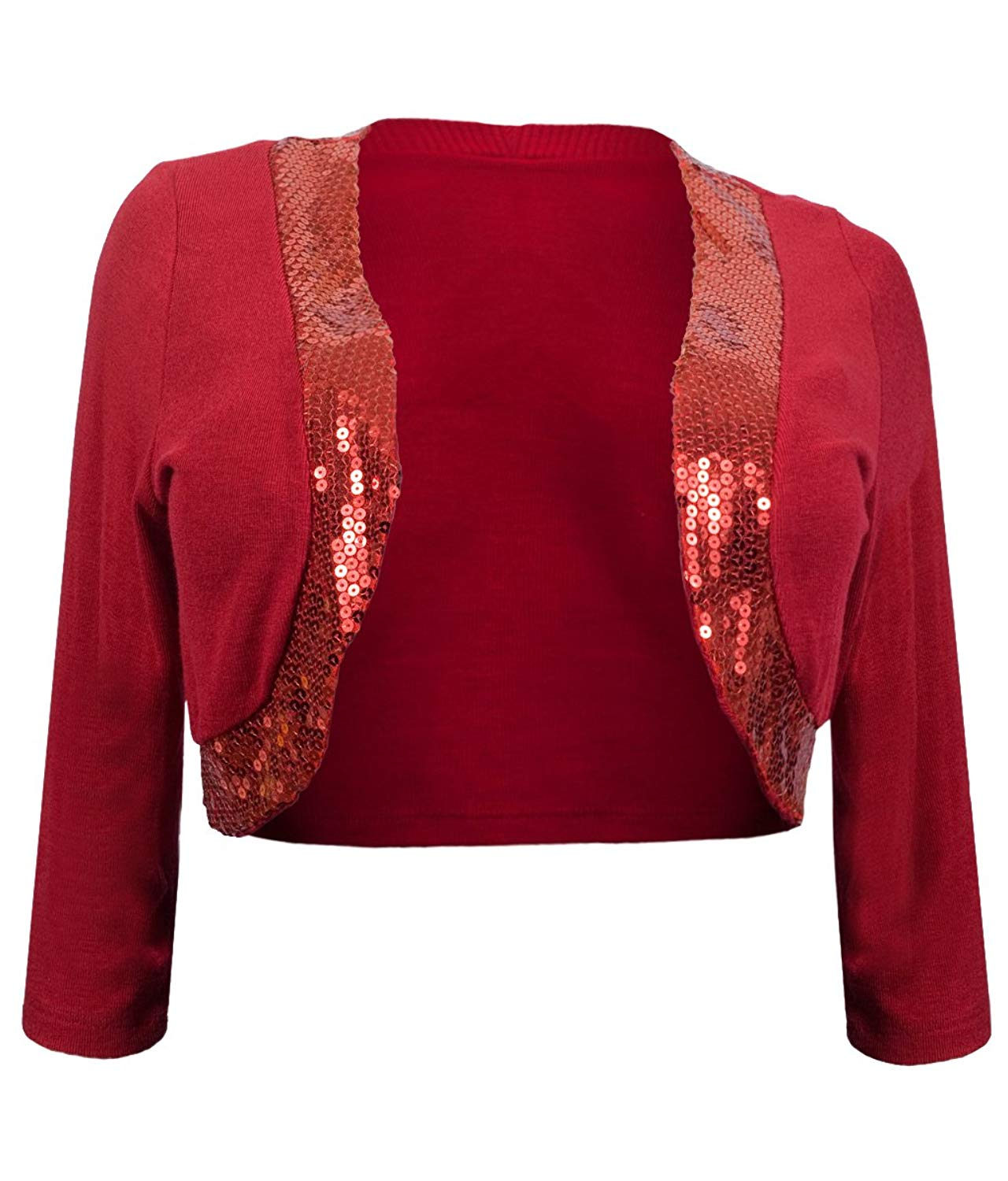 b4f22ad4a21 Get Quotations · eVogues Plus Size Sequin Trim 3 4 Sleeve Cropped Bolero  Shrug
