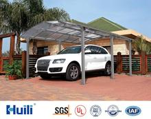 Luxury sunshade aluminum cheap prefab garage with PC panels for car at reasonable price