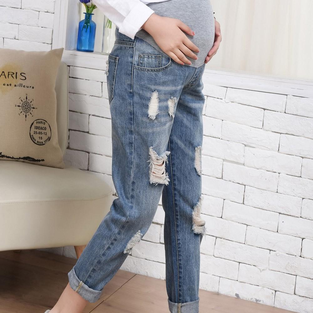 c2e83c320bb8d Woman Ripped Jeans Maternity Pants Trousers Nursing Prop Belly Legging pregnancy  grossesse pantalon denim pregnant woman plus