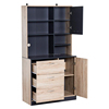 Modern Freestanding Kitchen Buffet Cabinet with Microwave Storage Hutch - Black and Oak