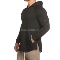 Gym Fitted Longline Hoodie Mens Curved Hem Long Tops Muscle Bodybuilding Gym Hoodie Cotton Spandex Plain Fitness Hoodie