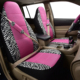 Pink design animal printing car seat covers with seat belt and steering wheel covers