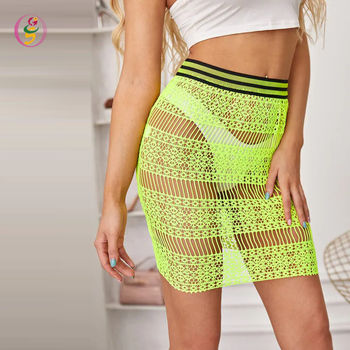 Neon Lime Contrast Tape Lace Skirt Ladies Sexy Transparent A-line Mini Skirt