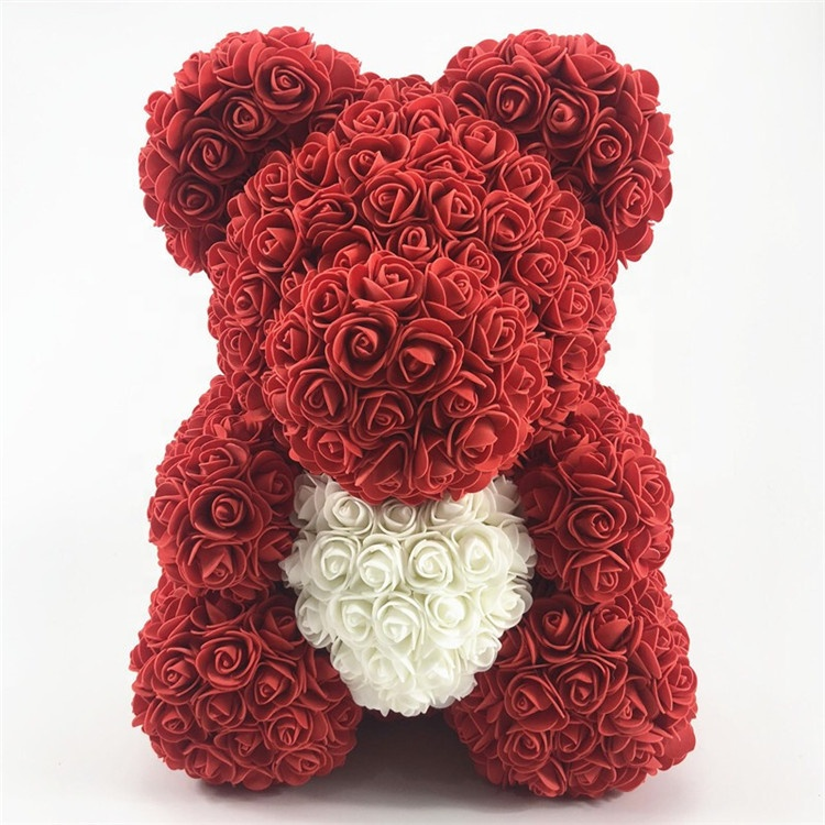 Best Selling Plastic Rose Bear Artificial Teddy Bear <strong>Flower</strong> Rose 40cm With Heart For Valentine