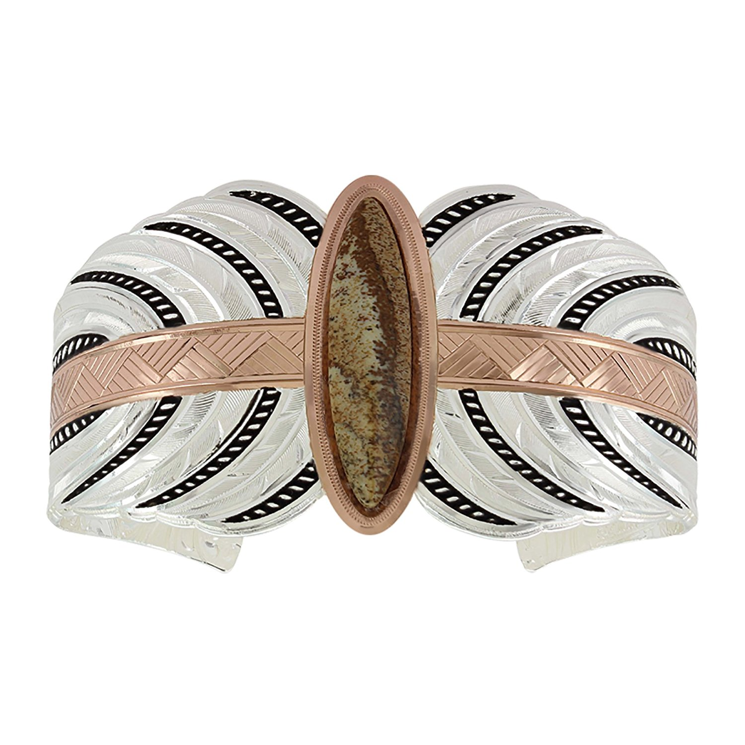 Rose Gold Picture Feather Stream Cuff Bracelet(BC3716RG)