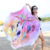 Printed Microfiber Chamois Beach Towel with Shawl Wrap Skirt Tassels