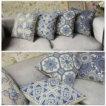 Exceptional 2016New Vintage Print Cotton Sofa Cushion Cover Replacement Pillow Cover  A077
