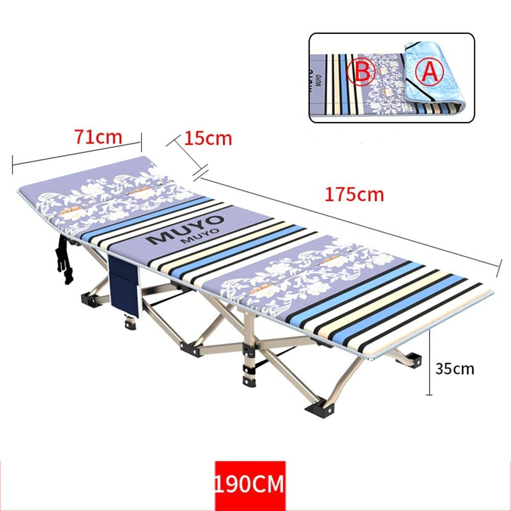 Rocking Chairs MEIDUO Folding Camp bed. Collapsible Folding Camp Cot with Carry Bag. Rated up to 400 kg. yet weighs only 8 Lbs. For Camping, Traveling, and Home Lounging (Color : A)