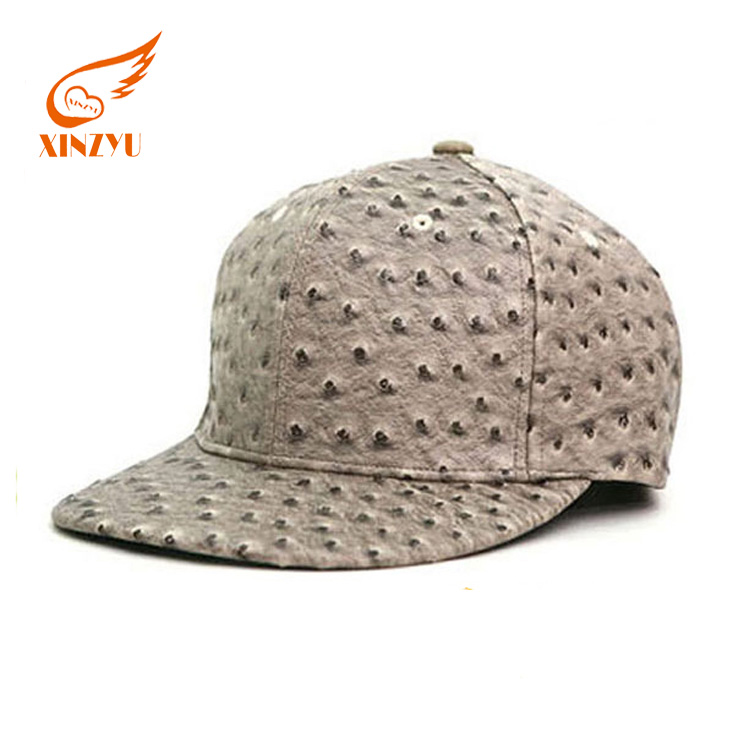 Quality PU Ostrich skin Design Your Own Black Leather Blank Cap Snapback