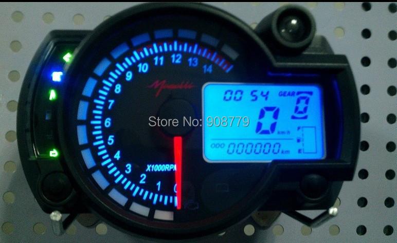 Регулируемая мотоцикла цифровой спидометр цифровой жк пробег красный / синий подсветка MPH / KPH SH-025 универсальный для всех мотоциклов