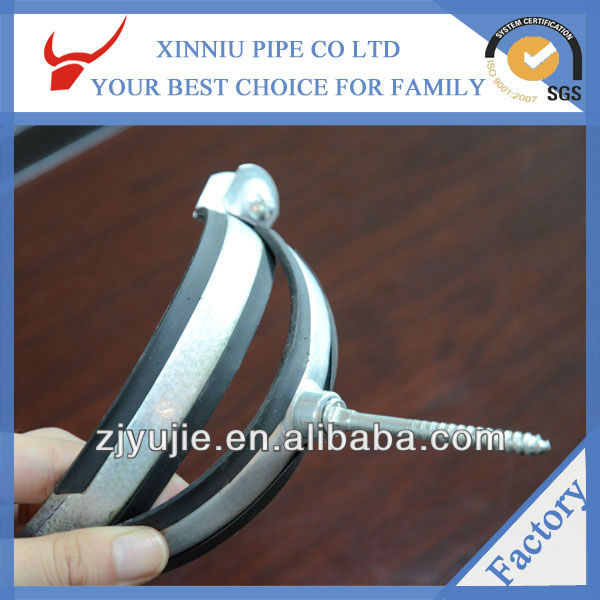 High quality pipe fittings china supplier adjustable Metal Rubber pipe clamp