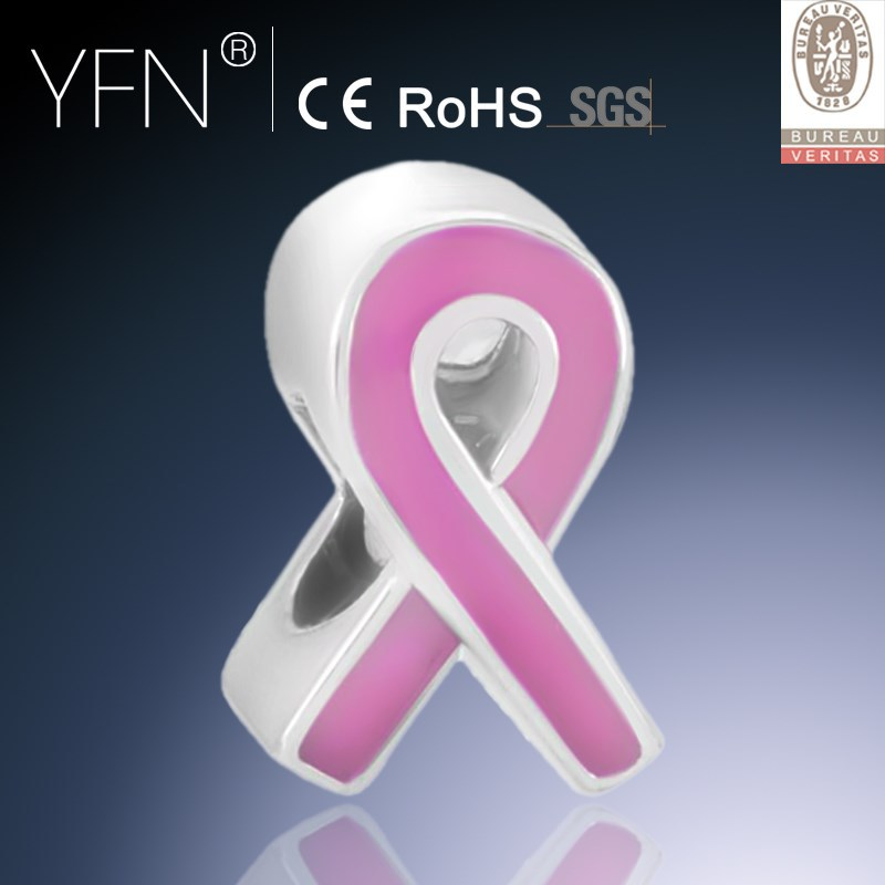 Breast Cancer Awareness Pink Ribbon Sterling Silver Charm Enamel Beads
